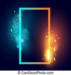 brûler, étincelles, forme abstraite, glace
