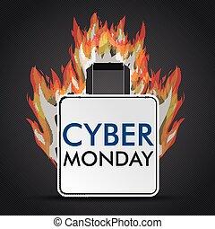 brûler, achats, cyber, lundi, sac