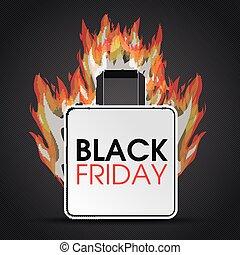 brûler, achats, noir, vendredi, sac