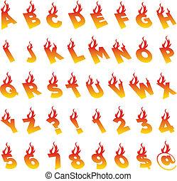 brûler, alphabet, nombres