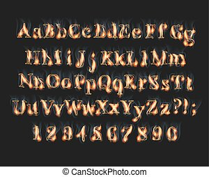 brûler, alphabet, police, nombres, brûlé