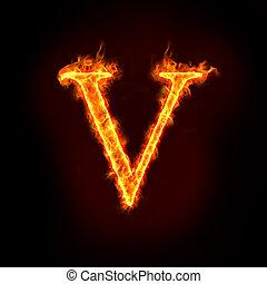 brûler, alphabets, v