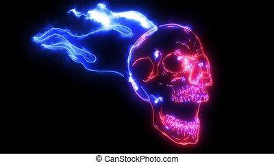 brûler, animation, laser, crâne