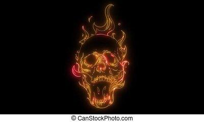 brûler, animation, laser, flammes, crâne