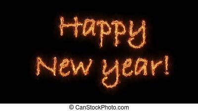brûler, animation., nouveau, vidéo, mots, année, 2019, heureux
