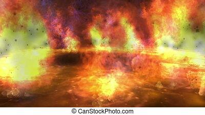 brûler, animation, particule, numérique