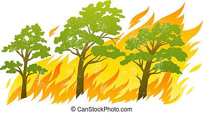 brûler, arbres, flammes, brûlé, forêt