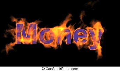 brûler, argent, word.