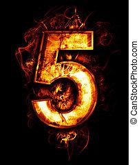 brûler, arrière-plan noir, chrome, effets, rouges, illustration, cinq, nombre