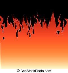 brûler, arrière-plan noir, flammes