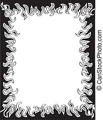 brûler, arrière-plan noir, frame., vecteur, silhouette, blanc