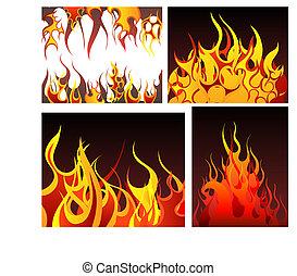 brûler, arrière-plans, ensemble