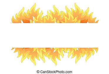 brûler, bannière, illustration, conception