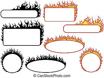 brûler, bannières, ensemble