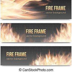 brûler, bannières, réaliste, flamme, transparent, ensemble