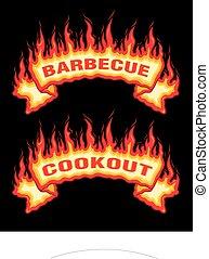 brûler, barbecue, flammes, barbecue, bannière