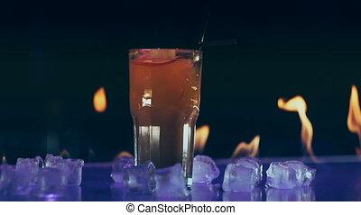 brûler, barre, cocktail