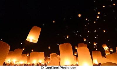brûler, beaucoup, flotter, lanternes, ciel
