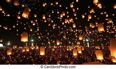 brûler, beaucoup, lanternes, ciel, thaïlande