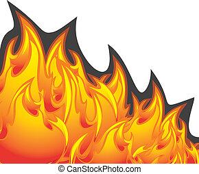 brûler, blanc, flamme, isolé