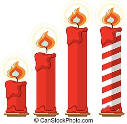 brûler, bougies, blanc rouge, fond
