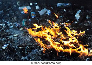 brûler, bougies, chaud, flamme