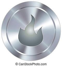 brûler, bouton, industriel, icône