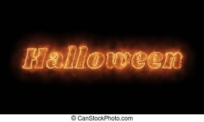brûler, brûlé, loop., réaliste, mot, helloween, flamme, animé, chaud