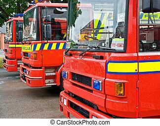 brûler, britannique, camions