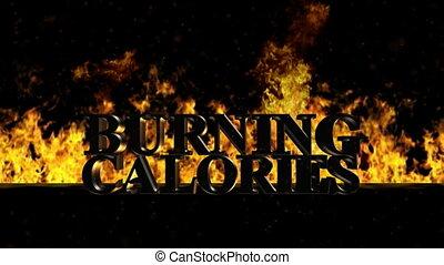 brûler, calories, chaud, mot, brûlé
