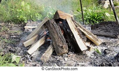 brûler, camp, brûlé, dehors