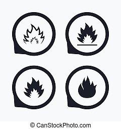 brûler, chaleur, flamme, icônes, signes