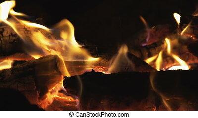 brûler, charbons, flammes, brûlé