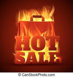 brûler, chaud, bannière, vente