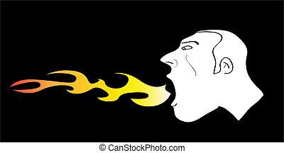 brûler, chaud, hurlement, homme