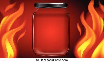 brûler, chaud, pot, arrière-plan rouge