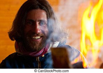 brûler, cheveux, long, homme