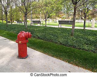 brûler, chicago, prise eau, ville, rouges