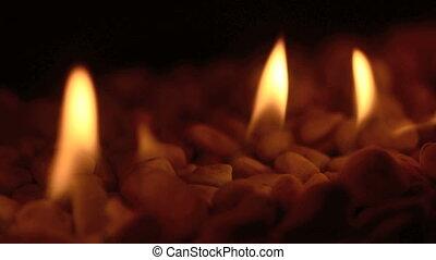 brûler, closeup, cheminée, flammes
