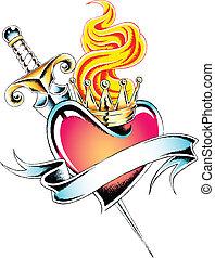 brûler, coeur, emblème