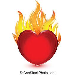 brûler, coeur, illustration, logo