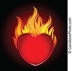 brûler, coeur, noir, logo