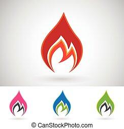 brûler, coloré, icônes