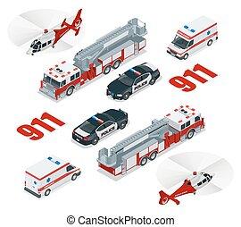 brûler, concept., cargaison, police, ville, transport, hélicoptère, urgence, icône, 3d, camion, ambulance, isométrique, set., 911., plat, nombre