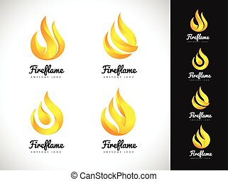 brûler, concept., flamme, logo, 3d, logo., icône