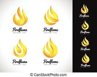 brûler,  concept, flamme,  logo,  3D,  logo, icône