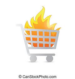 brûler, conception, chariot, illustration
