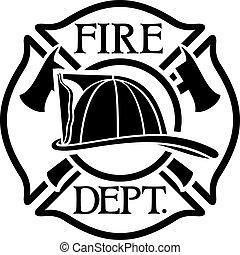 brûler, croix, département, maltais, pompiers, ou, symbole