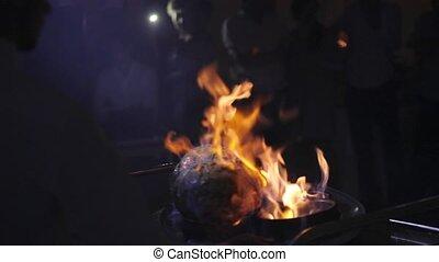 brûler, cuisine, viande
