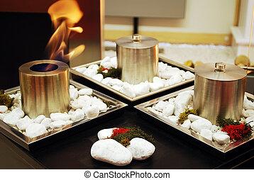 brûler, décoration, salle, vivant